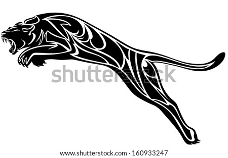 furious panther jump - black and white vector illustration - stock vector