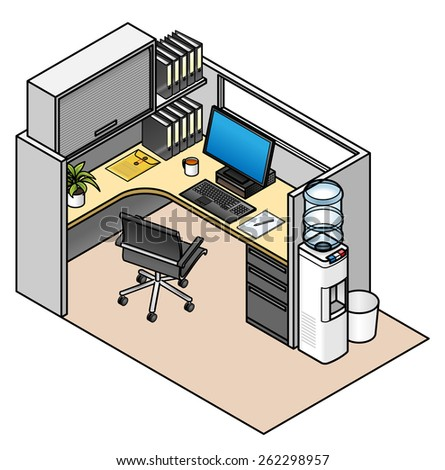 Furnished office cubicle: mid height partitions with window, drawer unit, partition mounted shelf and storage unit.  - stock vector