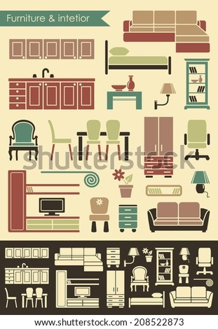 Furniture and elements of an interior for the house - stock vector