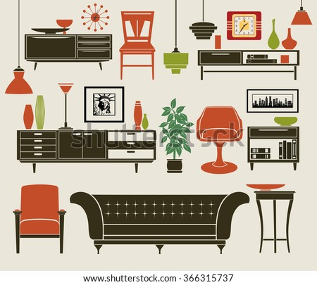 Furniture and Home Accessories - Set of design elements, including chest of drawers, stylized chairs, classic sofa, armchair, vintage chandeliers and home decoration - stock vector