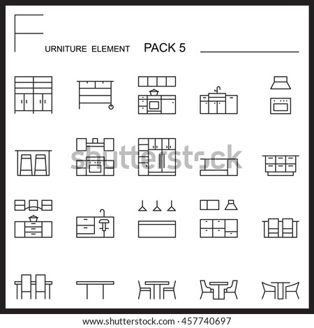 Furniture and home decorate line icons pack 5.Mono outline icons.pictogram illustration. - stock vector