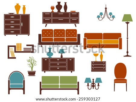 Furniture and home interior flat design elements including  sofa with pillows, comfortable armchair, vintage chair, cabinet, floor lamp and chandeliers isolated on white background - stock vector