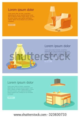 Furniture banner set with kitchen living room children room interior. Vector illustration - stock vector