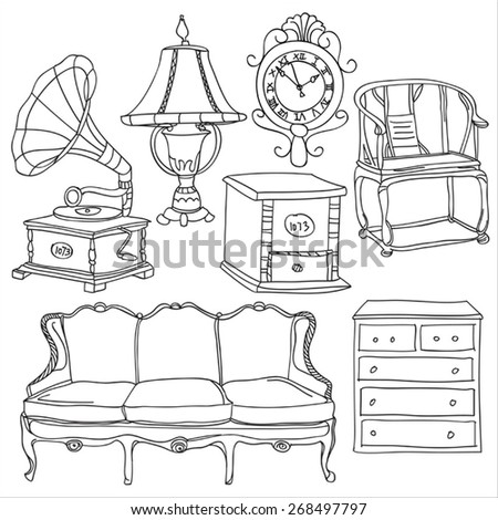 Furniture Collection - stock vector