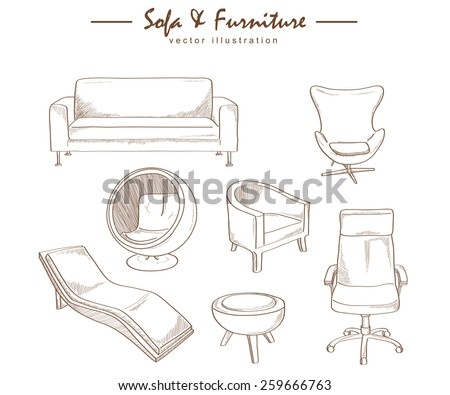 furniture collection sketch drawing vector - stock vector