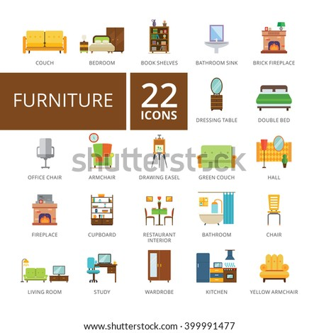 Furniture flat icons set - stock vector