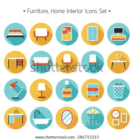 Furniture Flat Icons Set, Household, Home Interior Objects - stock vector