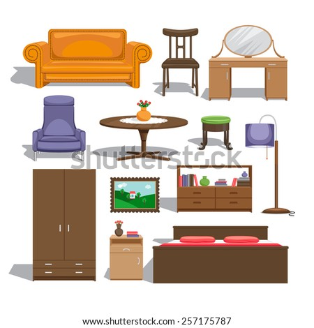 Furniture for bedroom. Lamp and table, chair and picture, chest of drawers and wardrobe, double bed and sofa, table and interior. Vector illustration - stock vector