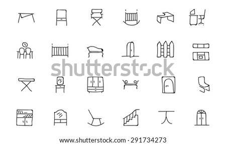 Furniture Hand Drawn Vector Icons - stock vector