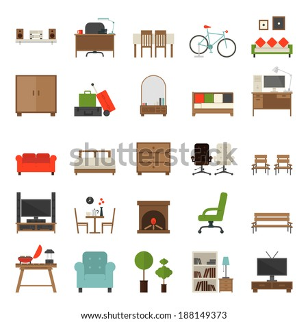 Furniture Icons Flat Design , vector. - stock vector