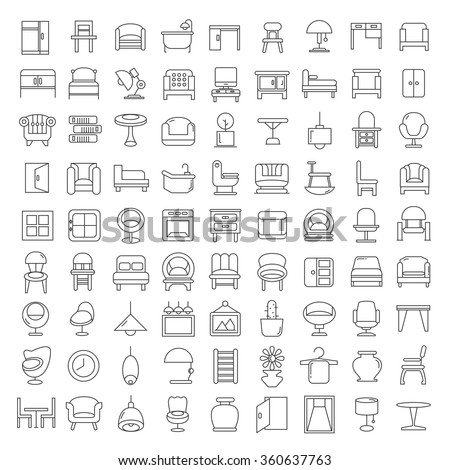 furniture icons, furniture design, vector furniture symbol, home decor icons, thin line theme - stock vector