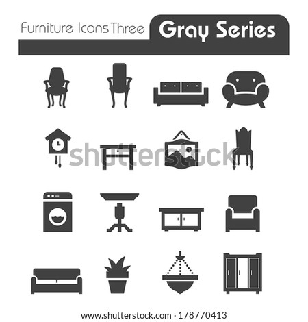 Furniture Icons gray series Three - stock vector