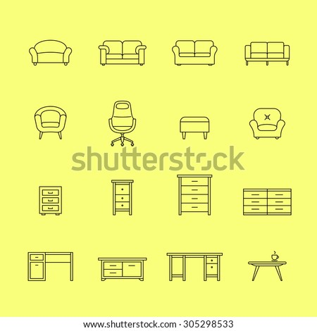 Furniture icons. Icons for furniture market. Linear style - stock vector