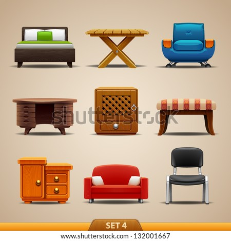 Furniture icons-set 4 - stock vector