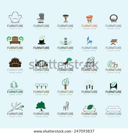 Furniture Icons Set - Isolated On Blue Background - Vector Illustration, Graphic Design, Editable For Your Design  - stock vector