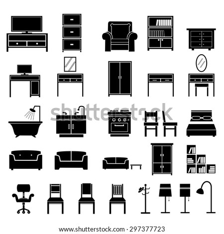 Furniture icons vector - stock vector