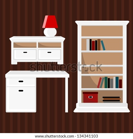 Furniture icons, vector set, country French style - stock vector