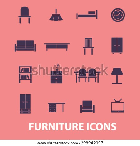 furniture, interior, desk, sofa, lamp, clock, chair isolated signs, icons vector set for web, application, design. - stock vector