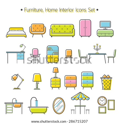 Furniture Line Icons Colorful Set, Household, Home Interior Objects - stock vector