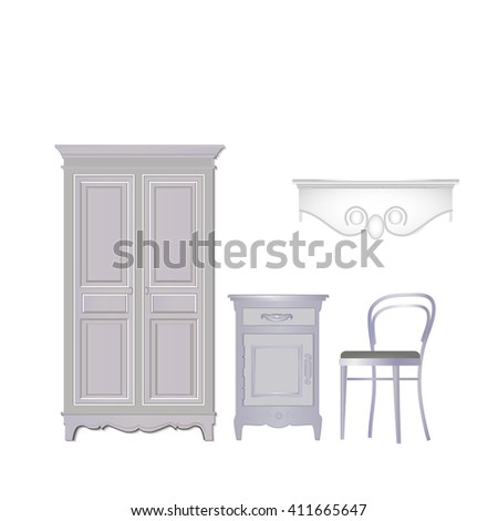 furniture on a white background, vector illustration - stock vector