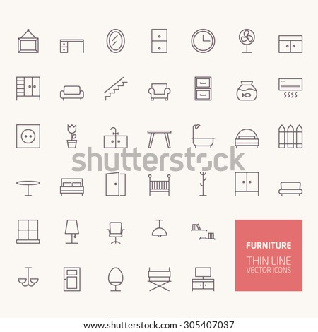 Furniture Outline Icons for web and mobile apps - stock vector