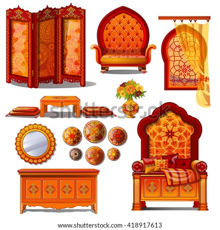 Furniture richly decorated interior in Oriental style. Vector illustration. - stock vector