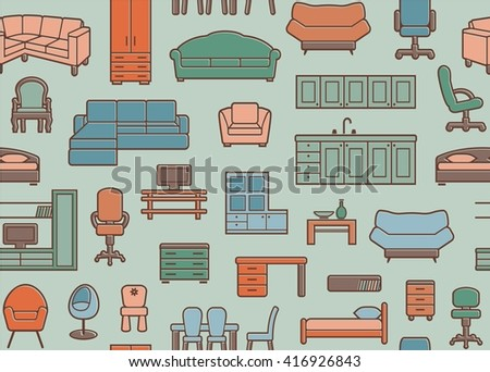 Furniture seamless pattern in retro style. Vector background - stock vector