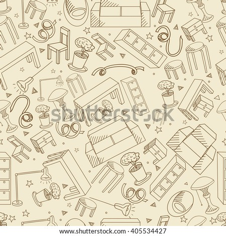 Furniture seamless retro line art design vector illustration. Separate objects. Hand drawn doodle design elements. - stock vector
