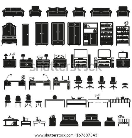 Furniture set - stock vector