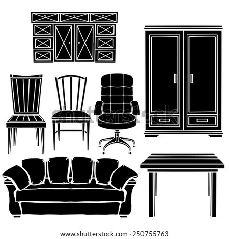Furniture set, chair, armchair, sofa, table, cupboard black silhouettes  isolated on a white background - stock vector