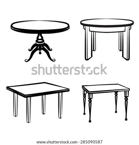 Furniture set. Interior detail outline collection: tables in different retro style - stock vector