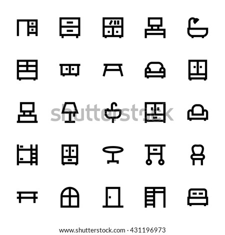 Furniture Vector Icons 1 - stock vector
