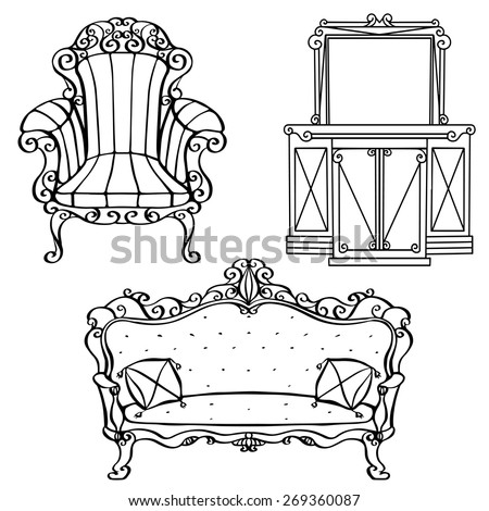 Furniture vintage armchair, sofa, console table, mirror with frame, cabinet with drawers front view closeup, hand drawn set, black lines isolated on white background  - stock vector
