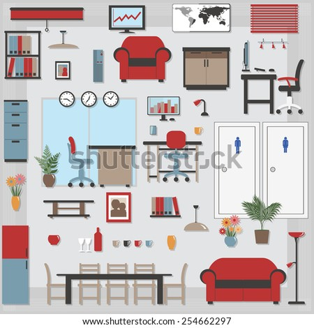 Furniture with Shadows icons Business Office and Boardroom - All items grouped separately and easy to move or edit, shadows on separate layer  - stock vector