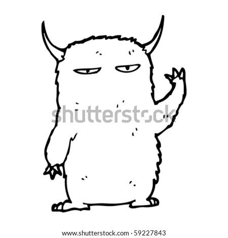 furry monster cartoon - stock vector