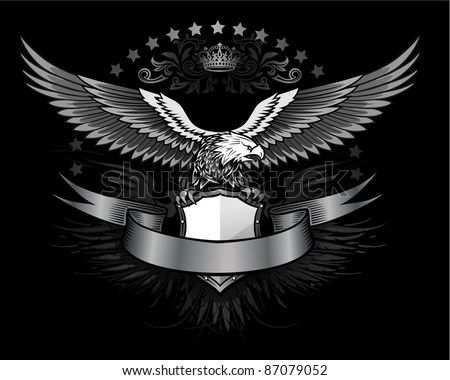 Fury spread winged eagle insignia - stock vector