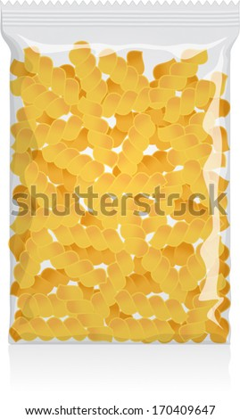 Fusilli Pasta Pack vector visual - clear plain flow wrap plastic or cellophane film / packet / packaging / wrapper / bag - Fully adjustable and scalable. - stock vector