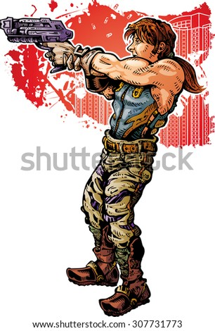 Future Man A combat soldier shooting - stock vector