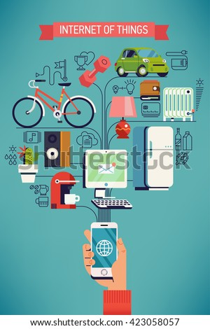 Future of network high technology in everyday life. Internet of things vector concept design in flat design with hand holding mobile phone connected to various everyday things - stock vector
