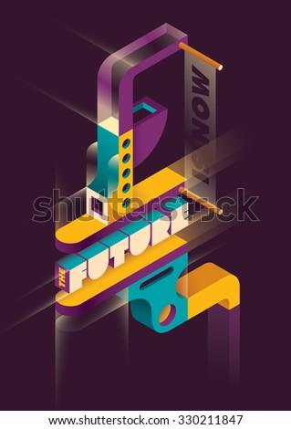 Futuristic abstraction. Vector illustration. - stock vector