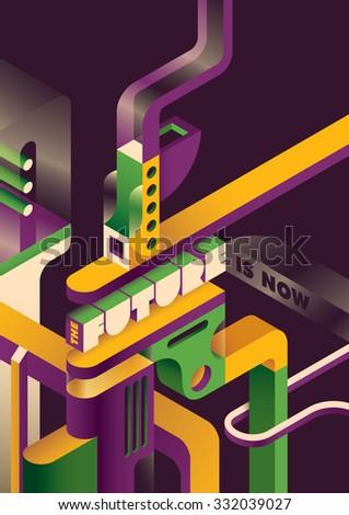 Futuristic background in color. Vector illustration. - stock vector