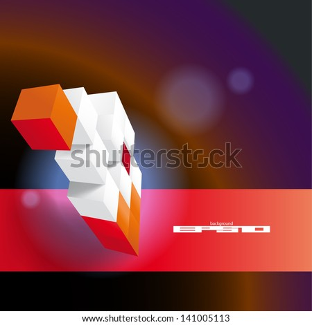 Futuristic  background made of red and white  chaotic cubic plates - stock vector