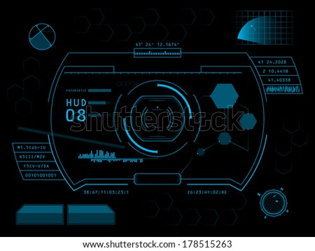 Futuristic blue virtual graphic touch user interface HUD - stock vector