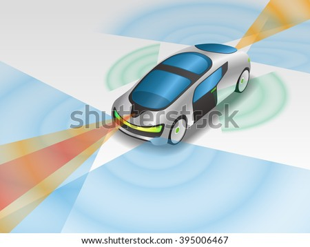 futuristic car and various sensors, Remote Sensing System of Vehicle. smart car, safety car, autonomous car, mirrorless car, view from diagonally and front, vector illustration - stock vector