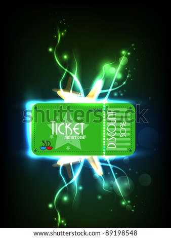 Futuristic cinema ticket concept. Vector - stock vector