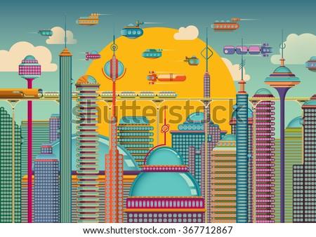 Futuristic city in color. Vector illustration. - stock vector