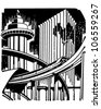 Futuristic City - Retro Clipart Illustration - stock vector