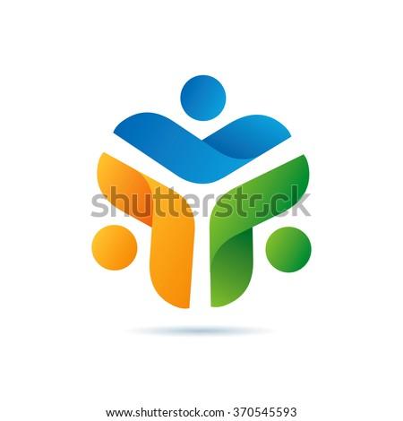 Futuristic Community Logo Icon Elements Template - stock vector