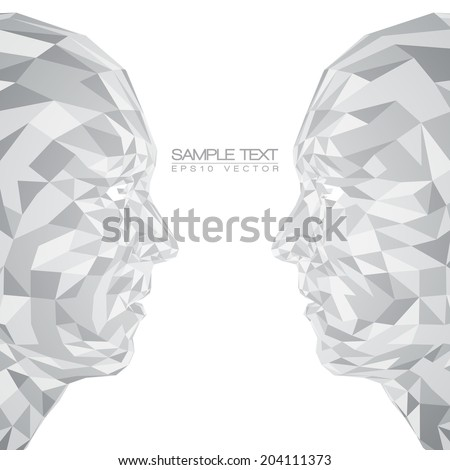 Futuristic Concept Abstract 3D Faces by Shapes | EPS10 Vector Design - stock vector
