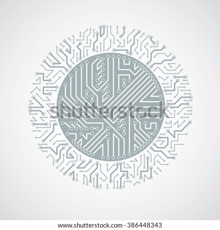 Futuristic cybernetic scheme, vector motherboard black and white illustration. Circular element with circuit board texture. - stock vector